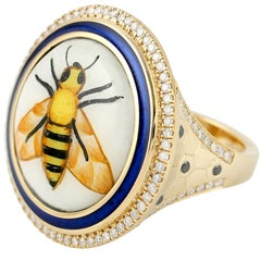 Bee Diamond Enamel Hand Painted 18 Karat Gold Ring