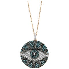 Bee Goddess Rose Gold Black and Blue Diamond Eye Light Necklace