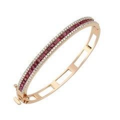 Bee Goddess Rose Gold Ruby and White Diamond Mondrian Bracelet