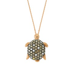 Bee Goddess Rose Gold White and Brown Diamond Turtle Necklace