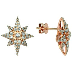 Bee Goddess Rose Gold White Diamond Venus Star Earrings
