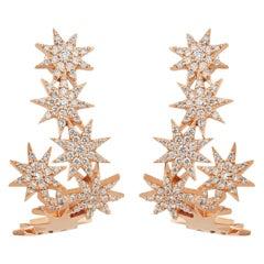 Bee Goddess Rose Gold White Diamond Venus Star Hoop Earrings