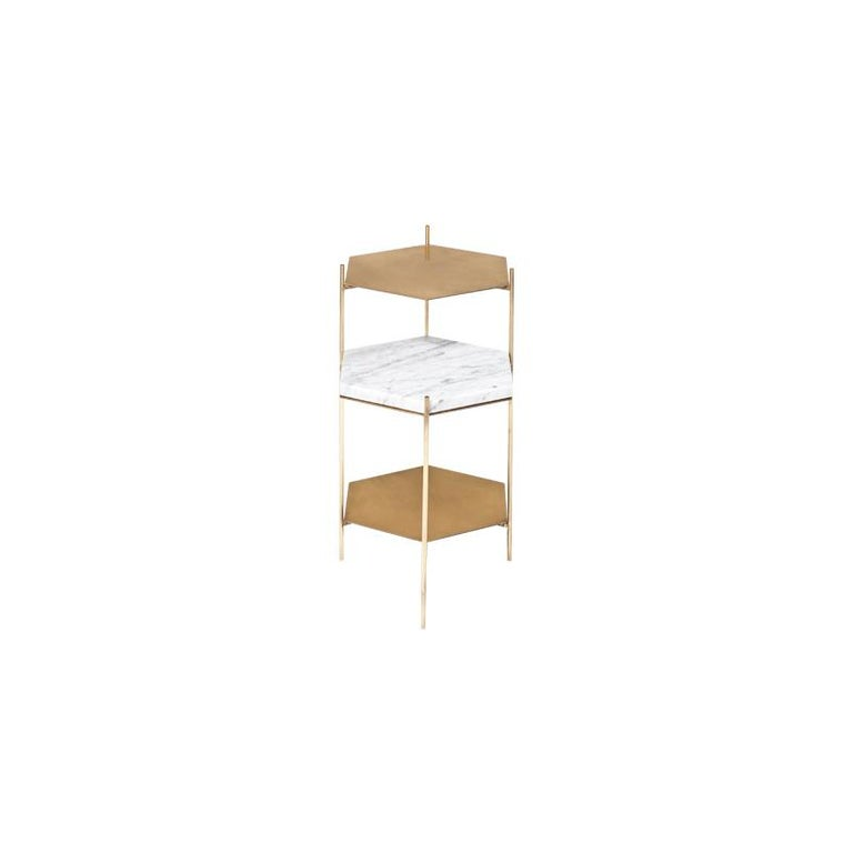 BEE Minimalist Hexagonal Side Table in Brass & Marble Top by Ries For Sale 4