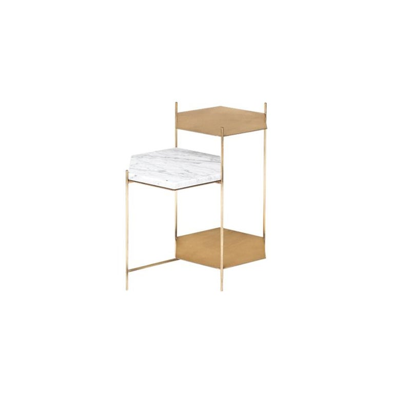 BEE Minimalist Hexagonal Side Table in Brass & Marble Top by Ries For Sale 5