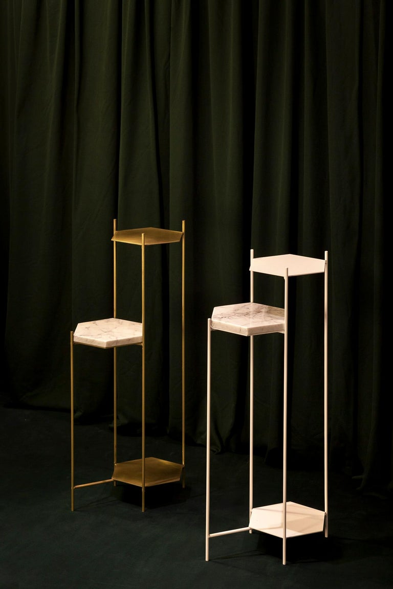 BEE Minimalist Hexagonal Side Table in Brass & Marble Top by Ries For Sale 8