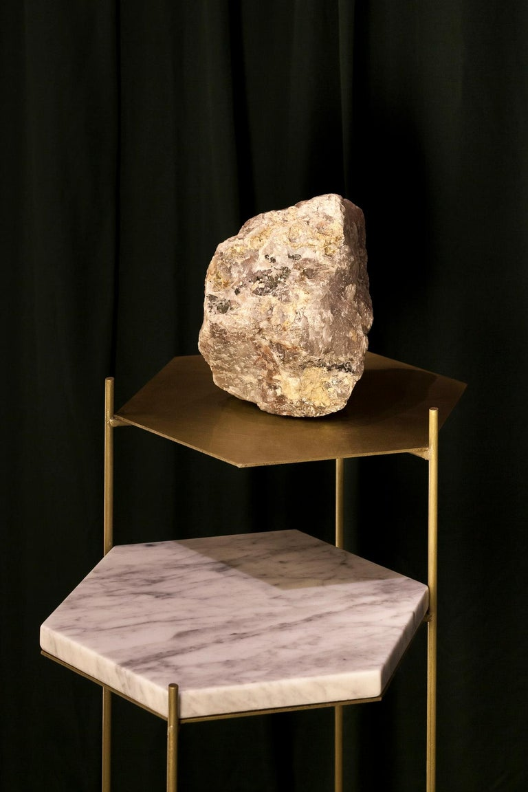 BEE Minimalist Hexagonal Side Table in Brass & Marble Top by Ries For Sale 13