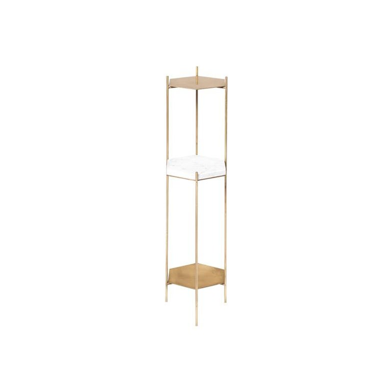 Argentine BEE Minimalist Hexagonal Side Table in Brass & Marble Top by Ries For Sale
