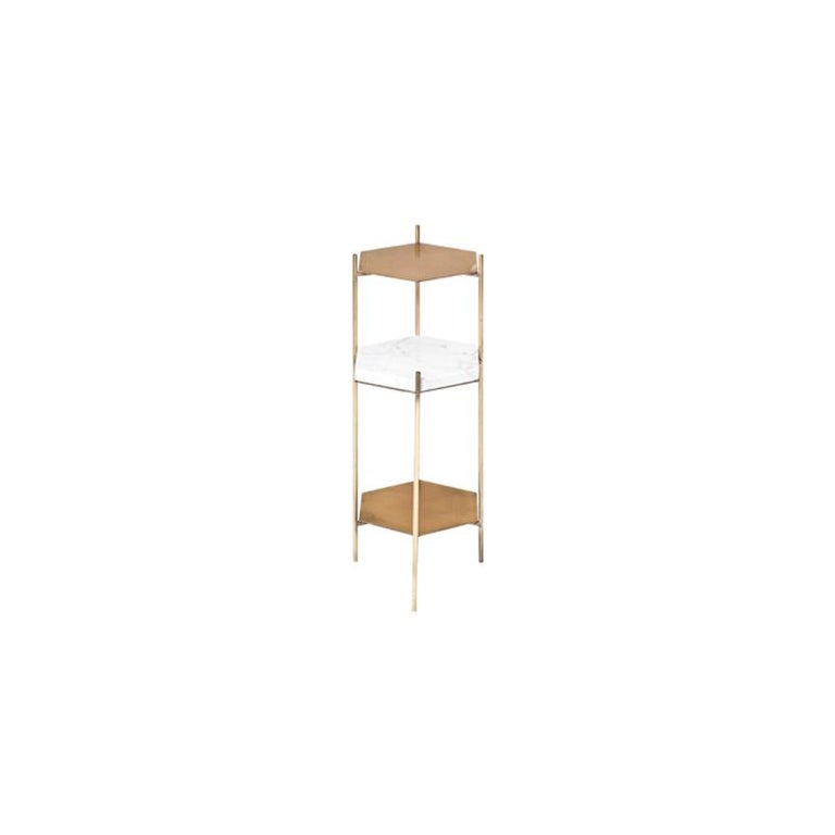 Plated BEE Minimalist Hexagonal Side Table in Brass & Marble Top by Ries For Sale