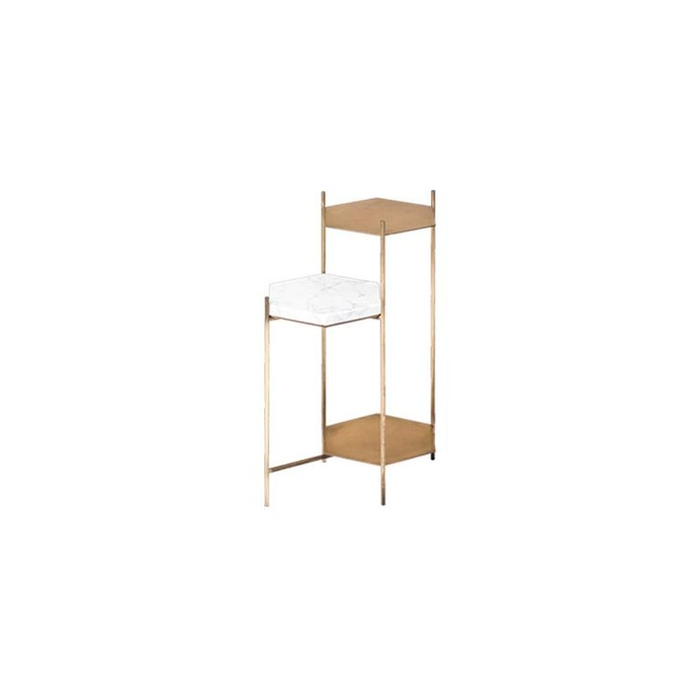 BEE Minimalist Hexagonal Side Table in Brass & Marble Top by Ries In New Condition For Sale In Buesnos Aries, CABA
