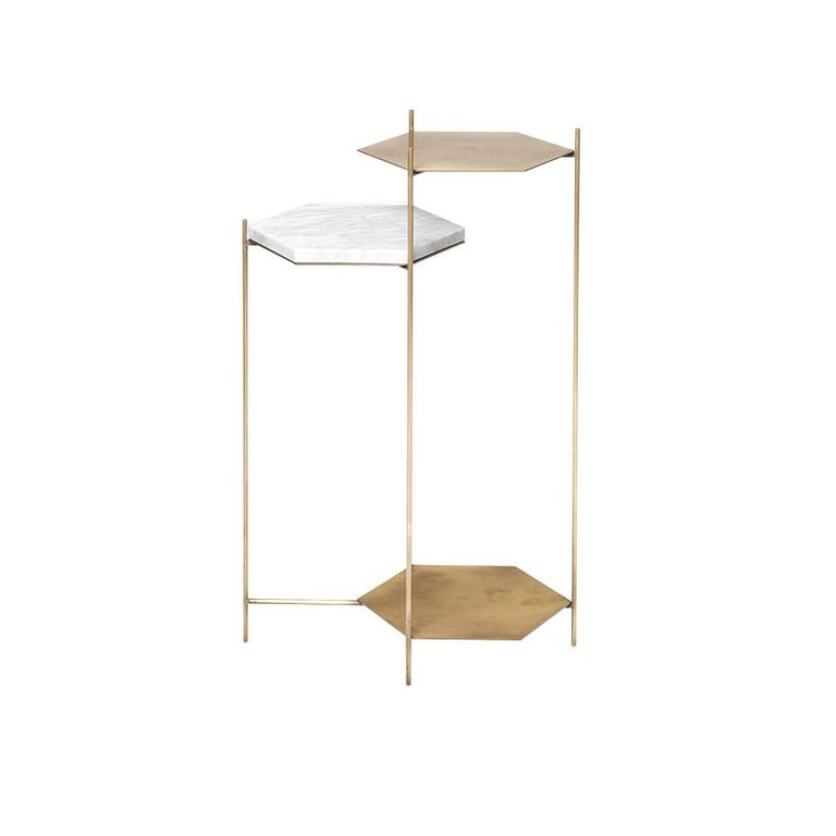 Steel BEE Minimalist Hexagonal Side Table in Brass & Marble Top by Ries For Sale