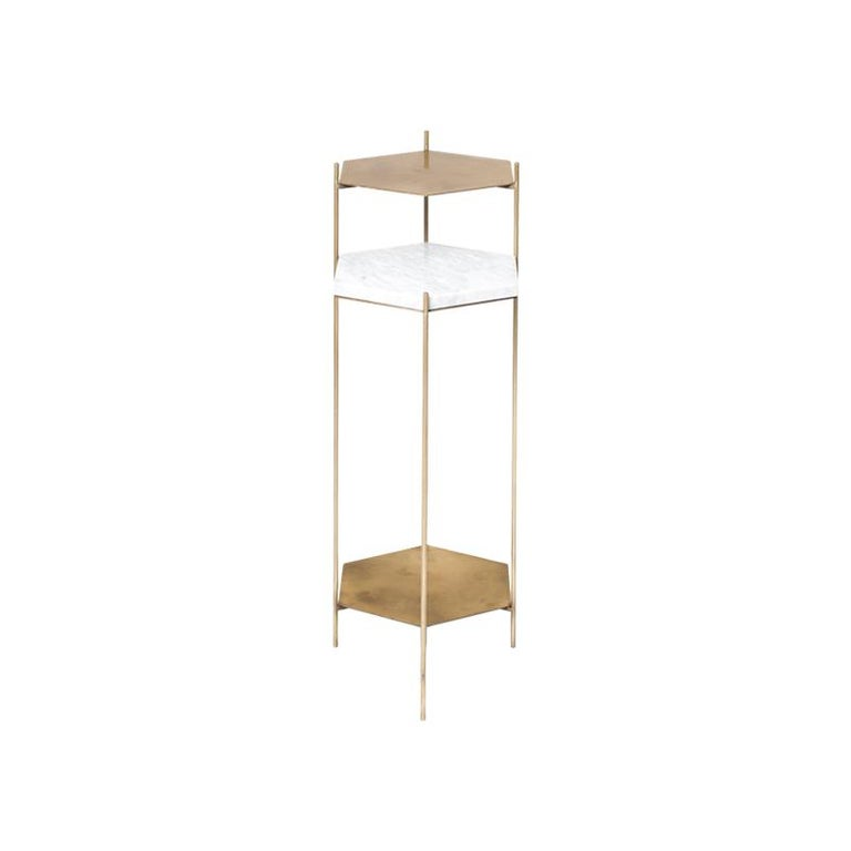 BEE Minimalist Hexagonal Side Table in Brass & Marble Top by Ries For Sale 1