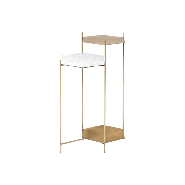 BEE Minimalist Hexagonal Side Table in Brass & Marble Top by Ries For Sale 2