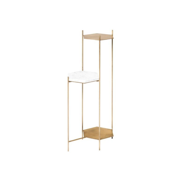 BEE Minimalist Hexagonal Side Table in Brass & Marble Top by Ries For Sale