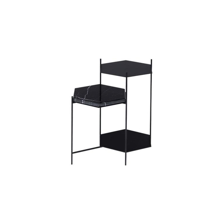 Bee Minimalist Hexagonal Side Table in Powder Coated Steel & Marble Top by Ries For Sale 4