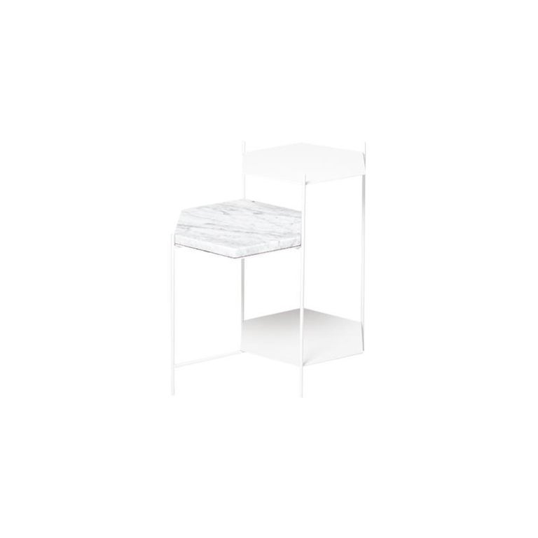 BEE Minimalist Hexagonal Side Table in Powder Coated Steel & Marble Top by Ries For Sale 5