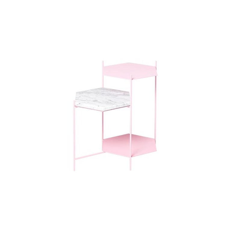 BEE Minimalist Hexagonal Side Table in Powder Coated Steel & Marble Top by Ries For Sale 6