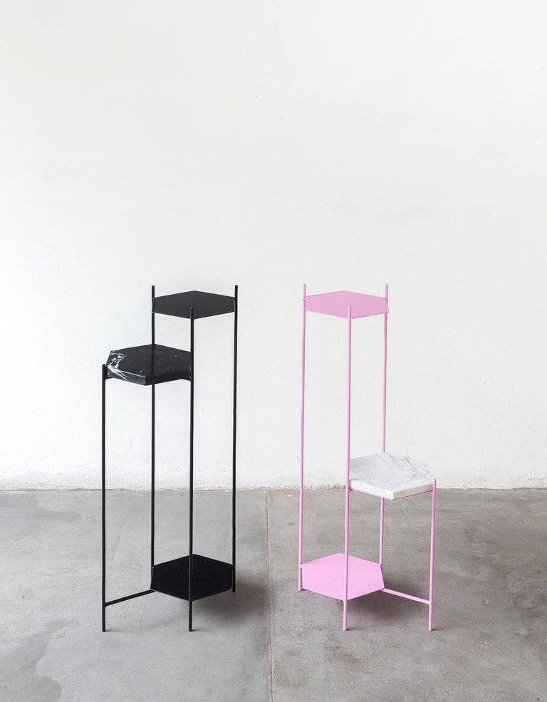 Bee Minimalist Hexagonal Side Table in Powder Coated Steel & Marble Top by Ries For Sale 8