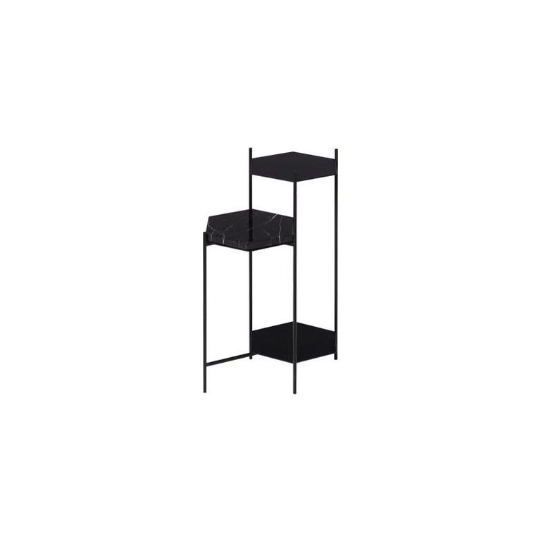 Powder-Coated BEE Minimalist Hexagonal Side Table in Powder Coated Steel & Marble Top by Ries For Sale