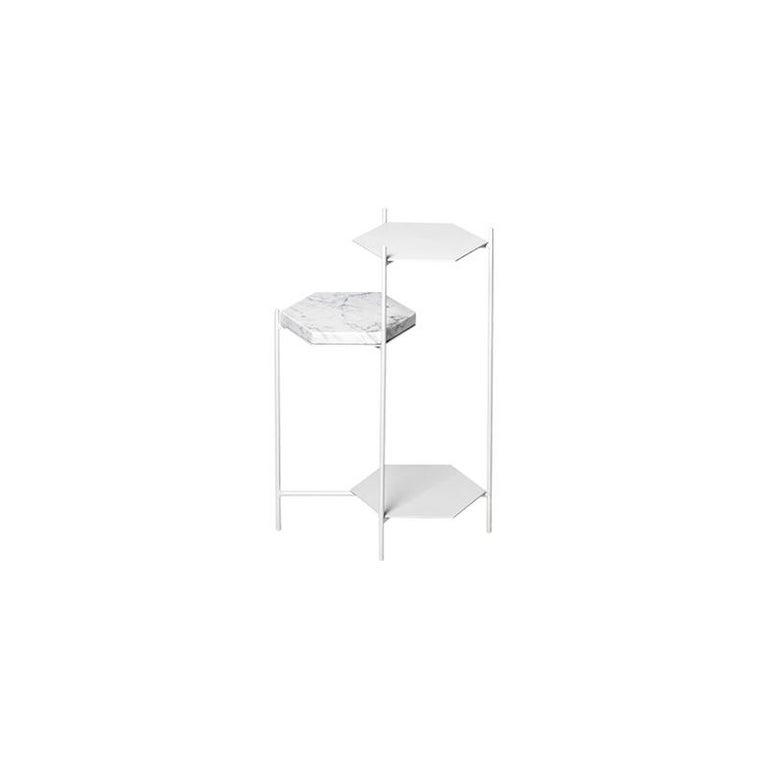BEE Minimalist Hexagonal Side Table in Powder Coated Steel & Marble Top by Ries In New Condition For Sale In Buesnos Aries, CABA