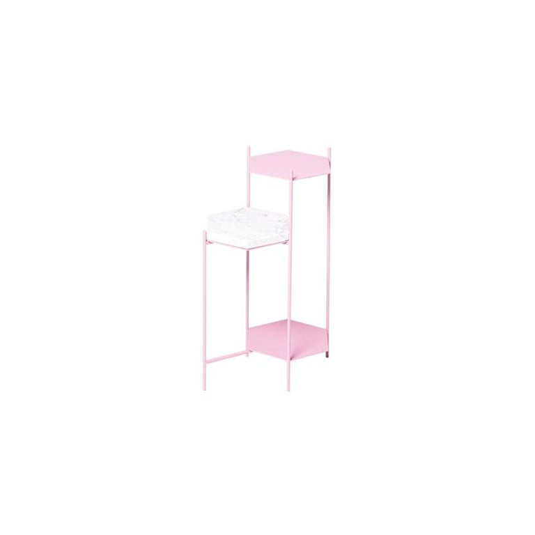 Contemporary Bee Minimalist Hexagonal Side Table in Powder Coated Steel & Marble Top by Ries For Sale