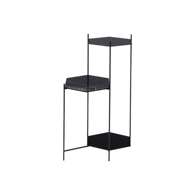 BEE Minimalist Hexagonal Side Table in Powder Coated Steel & Marble Top by Ries For Sale 1