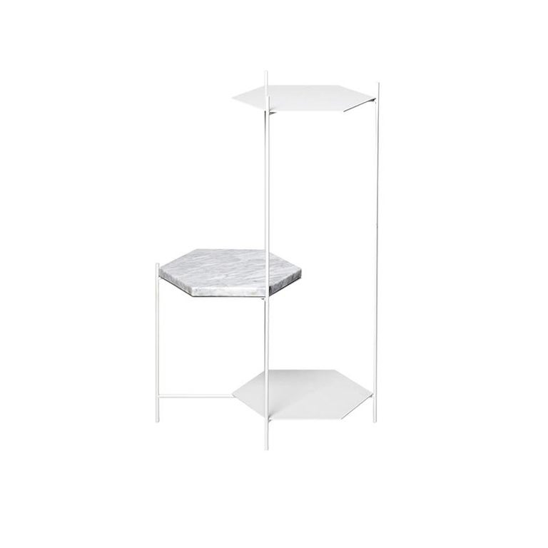 Bee Minimalist Hexagonal Side Table in Powder Coated Steel & Marble Top by Ries For Sale 2