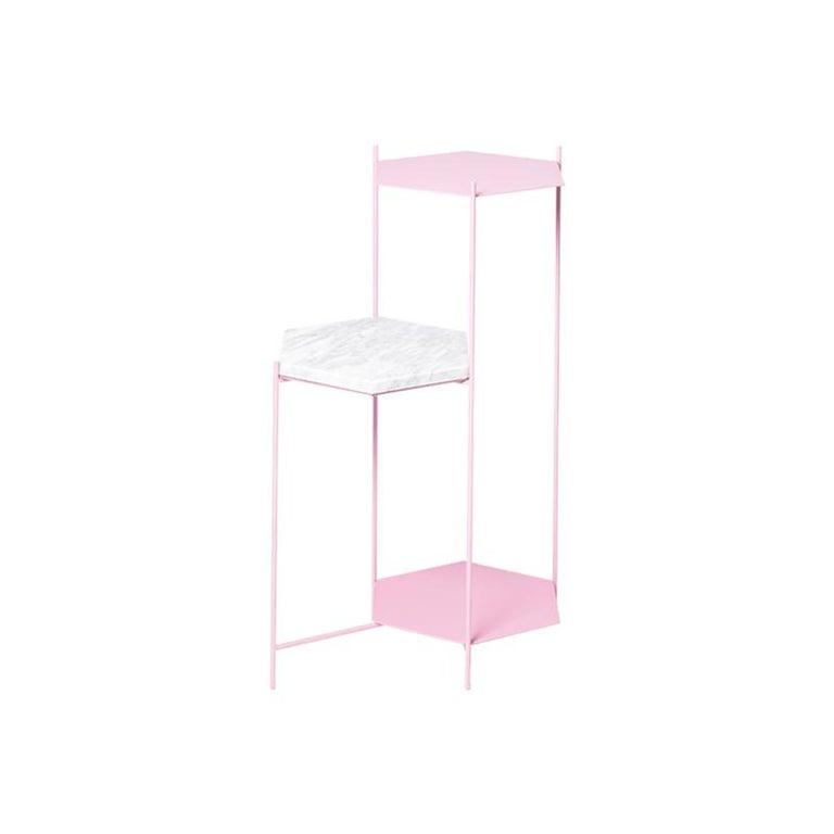 BEE Minimalist Hexagonal Side Table in Powder Coated Steel & Marble Top by Ries For Sale 3