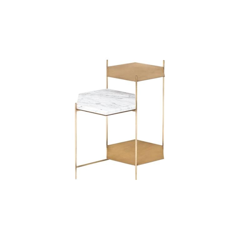 BEE Minimalist Side Table in Brass and Marble by Ries For Sale