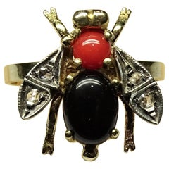 Bee Onyx Coral Rose Cut Diamonds Art Nouveau Yellow Gold Ring