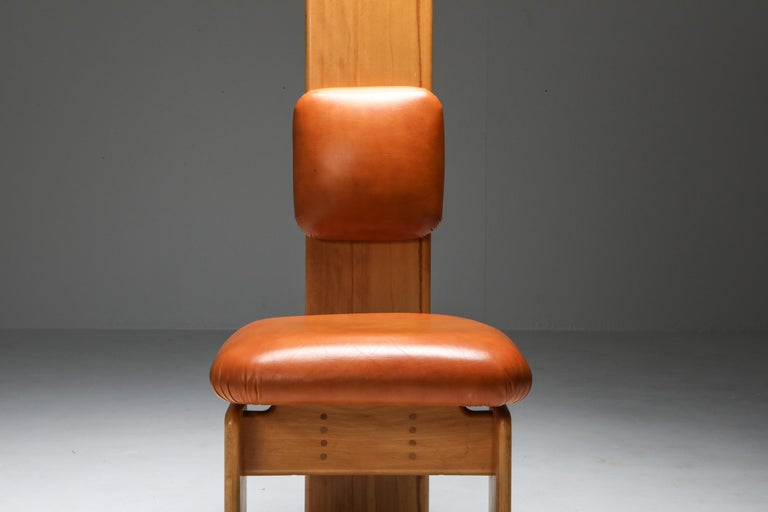 Beech and Leather Dining Chairs by Mario Marenco, Italy, Set of Six For Sale 4