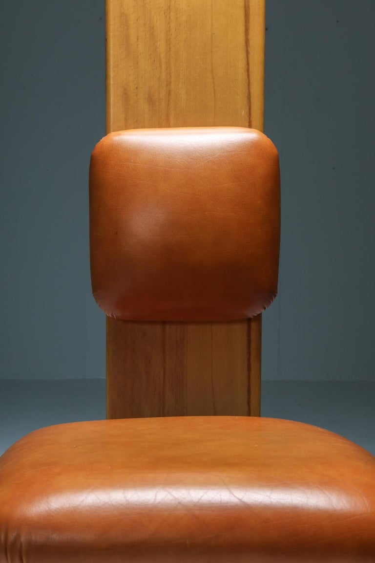 Beech and Leather Dining Chairs by Mario Marenco, Italy, Set of Six For Sale 8