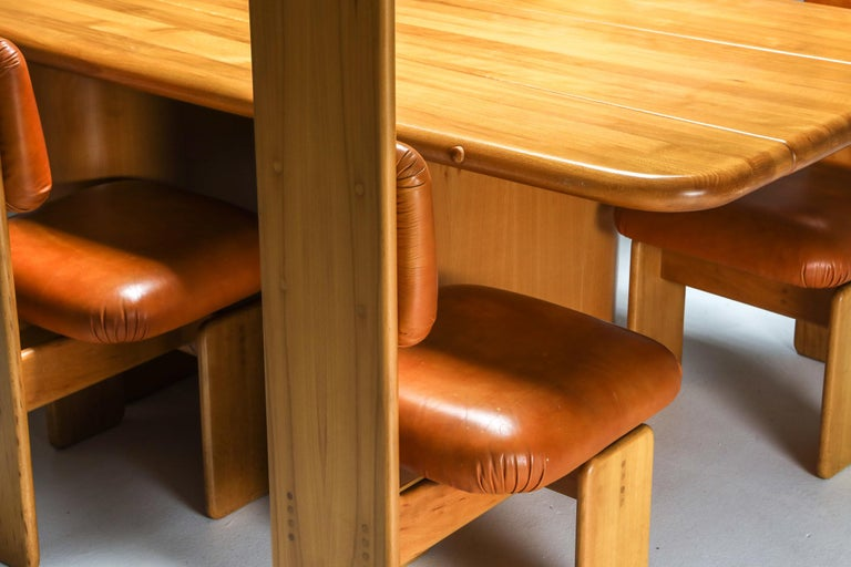 Beech and Leather Dining Chairs by Mario Marenco, Italy, Set of Six For Sale 14