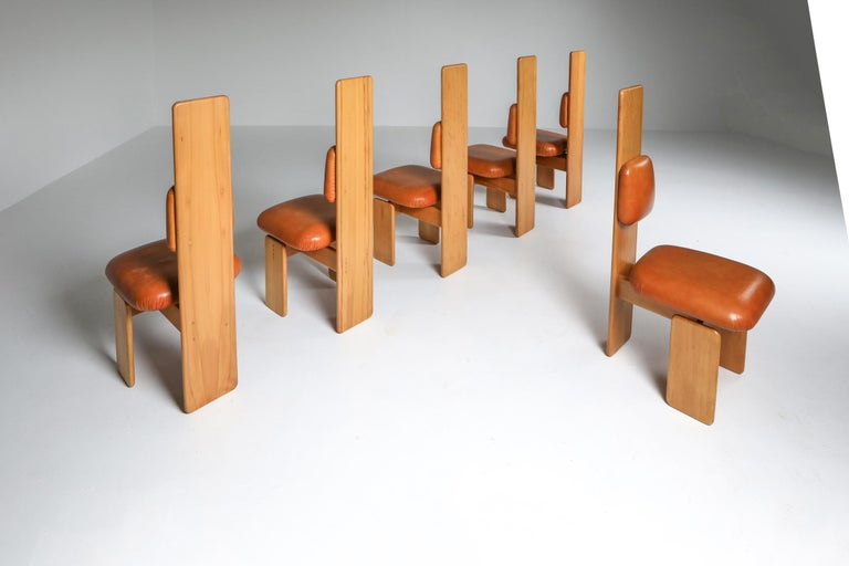 Post-Modern Beech and Leather Dining Chairs by Mario Marenco, Italy, Set of Six For Sale