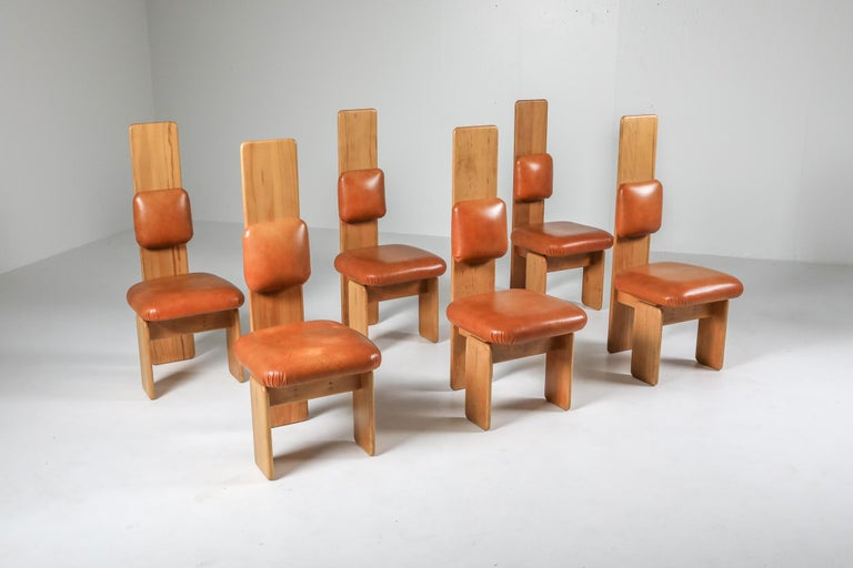 Italian Beech and Leather Dining Chairs by Mario Marenco, Italy, Set of Six For Sale