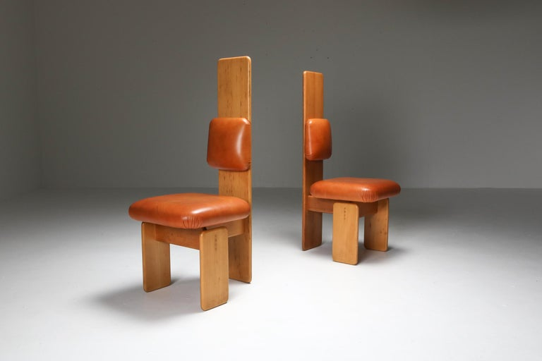 Late 20th Century Beech and Leather Dining Chairs by Mario Marenco, Italy, Set of Six For Sale