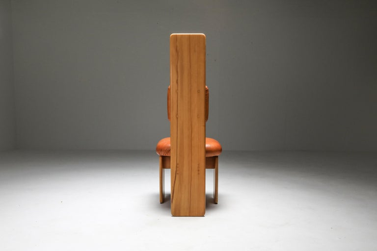 Beech and Leather Dining Chairs by Mario Marenco, Italy, Set of Six For Sale 1