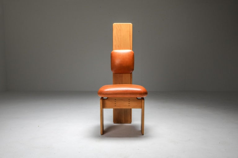 Beech and Leather Dining Chairs by Mario Marenco, Italy, Set of Six For Sale 2