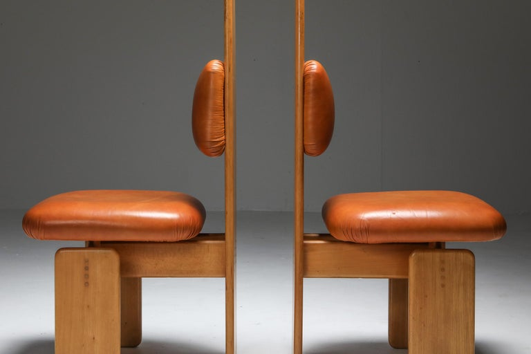 Beech and Leather Dining Chairs by Mario Marenco, Italy, Set of Six For Sale 3