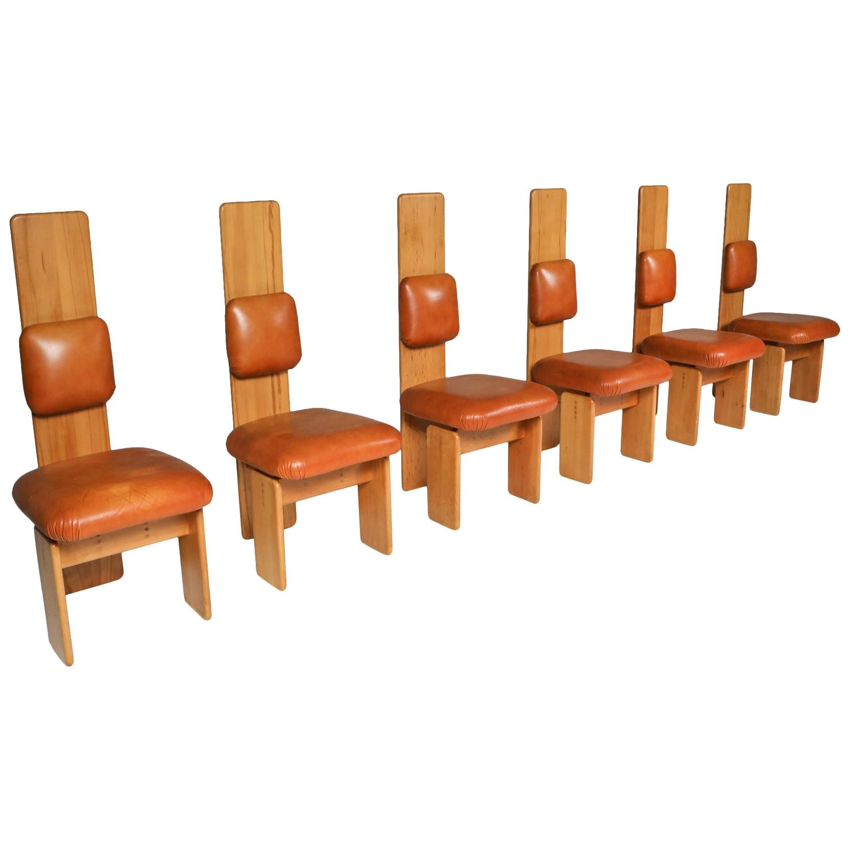 Beech and Leather Dining Chairs by Mario Marenco, Italy, Set of Six
