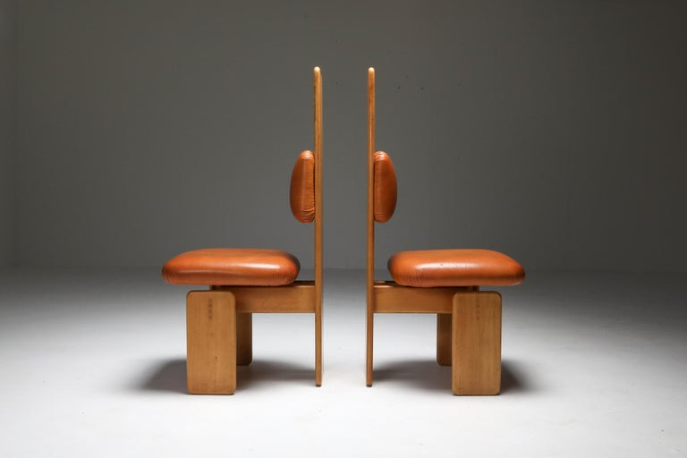Mario Marenco dining chairs, set of six, Postmodern, beech, tan leather, Italy 1970s