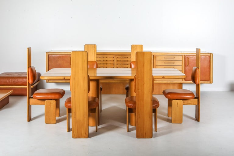 Beech and Leather Dining Room Set by Mario Marenco, Italy, Set of Six For Sale 5