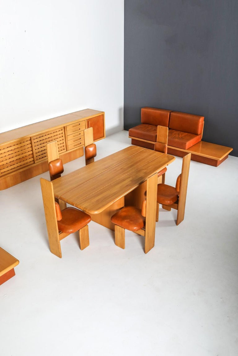 Beech and Leather Dining Room Set by Mario Marenco, Italy, Set of Six For Sale 6
