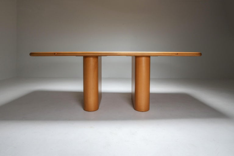 Beech and Leather Dining Room Set by Mario Marenco, Italy, Set of Six For Sale 8