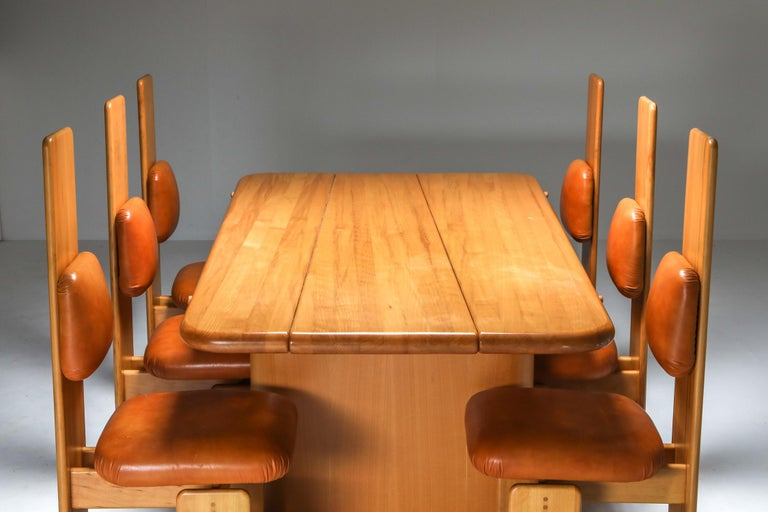 Mario Marenco dining room set, Postmodern, beech, tan leather, Italy, 1970s