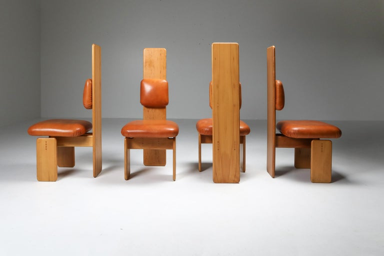 Post-Modern Beech and Leather Dining Room Set by Mario Marenco, Italy, Set of Six For Sale