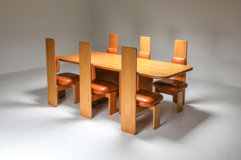 Beech and Leather Dining Room Set by Mario Marenco, Italy, Set of Six In Excellent Condition For Sale In Antwerp, BE