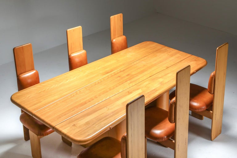 Late 20th Century Beech and Leather Dining Room Set by Mario Marenco, Italy, Set of Six For Sale