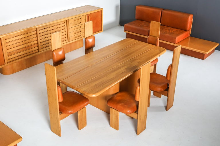 Beech and Leather Dining Room Set by Mario Marenco, Italy, Set of Six For Sale 1