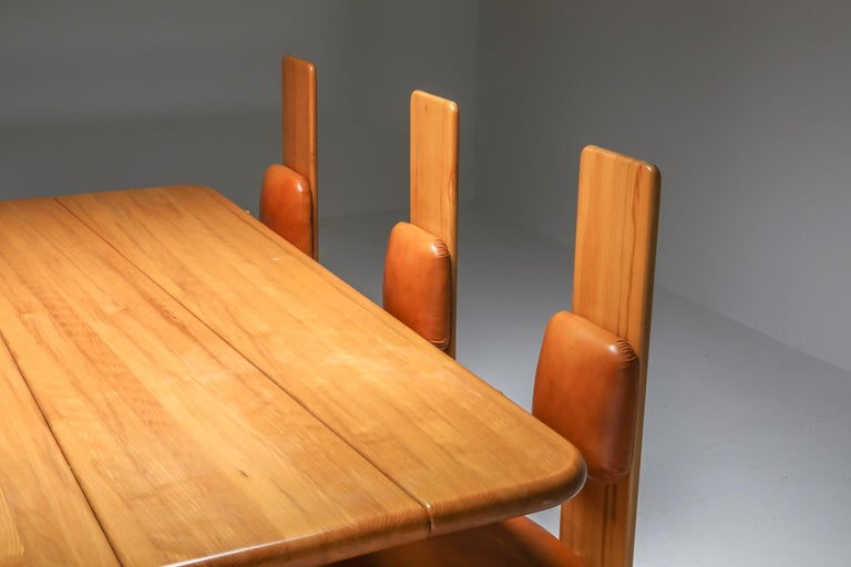 Beech and Leather Dining Room Set by Mario Marenco, Italy, Set of Six For Sale 2