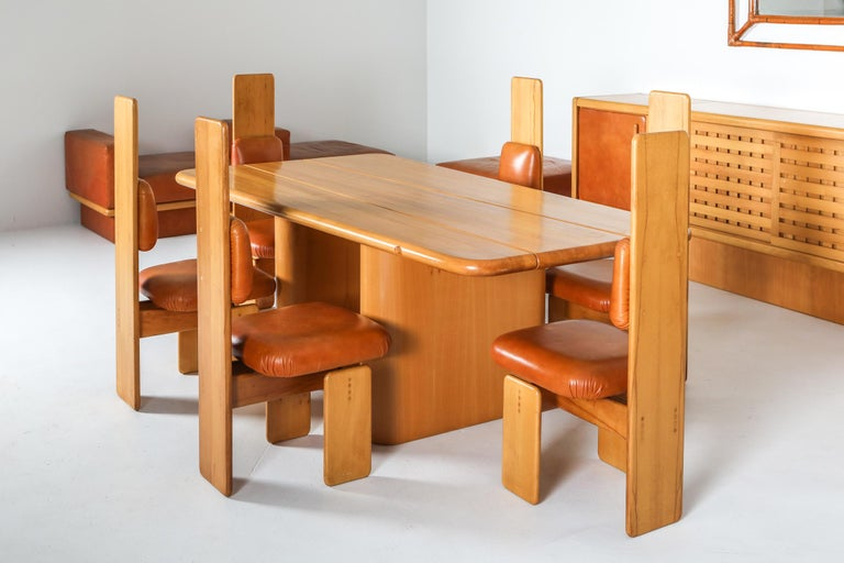 Beech and Leather Dining Room Set by Mario Marenco, Italy, Set of Six For Sale 3